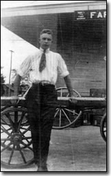 Charley Stevens at the depot in Farmers, KY in 1919